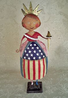 Folk Art Primitive Patriotic Lady Liberty