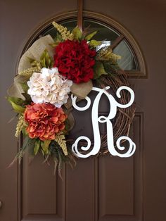 Fall Hydrangea Wreath for Front Door - Front Door Decor - Monogram Wreath - Front Door Wreath with Initial - Holiday Wreath - Fall Decor by Flowenka on Etsy https://www.etsy.com/listing/536870236/fall-hydrangea-wreath-for-front-door