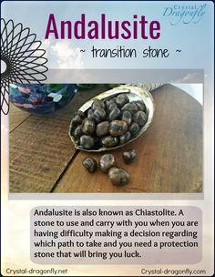 Metaphysical properties of tumbled Andalusite from Crystal Dragonfly Healing Crystals For You, Crystal Healing Stones, Crystal Magic, Healing Crystal Jewelry, Chakra Crystals, Crystals Minerals, Rocks And Minerals, Crystals And Gemstones, Stones And Crystals