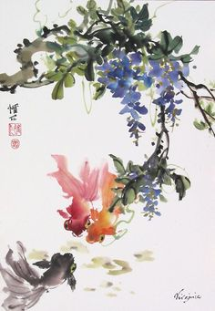 Chinese Brush Painting: goldfish wisteria