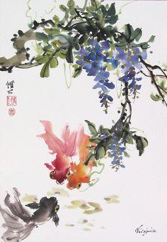 Chinese Brush Painting: goldfish wisteria