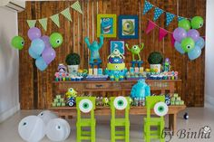 monster inc party Monster Inc Party, Monster University Party, Monster 1st Birthdays, Monster Birthday Parties, Baby Boy 1st Birthday Party, Disney Birthday, First Birthday Parties, First Birthdays, Theme Parties