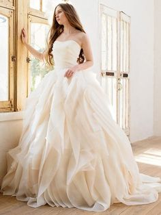 Ball Gown Strapless Organza Sweep Train with Cascading Ruffles Wedding Dresses #DGD00023039