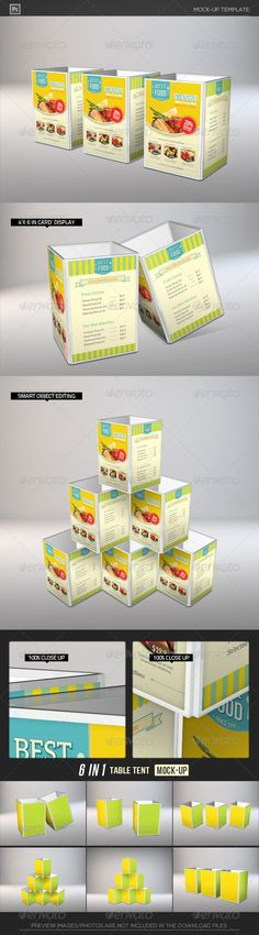 Table Tent Card Holder Mock-Ups  #GraphicRiver         [ 4-sided Table Tent Card Holder Mock-Ups]   Fully Layered Photoshop Document – 4000×3000px 300DPI  6 Mock-Ups in 1 package  Display Area Size: 4×6in.  Easy to customize with Smart Object  Well organized layers with Separated shadow&highlights.  Exclusive on Graphicriver Only.  Preview images/photos are not included, for illustration only.   Click 'Screenshots' for more previews