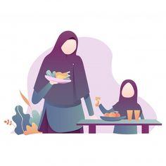 Ramadan Kareem Illustration With Moslem Family Illustration Ramadan Background, Background Banner, Vector Background, Family Illustration, Woman Illustration, Muslim Pray, Family Drawing, Islamic Cartoon, Muslim Family