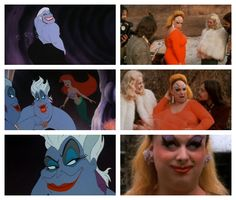 Ursula the sea witch from Disney's The Little Mermaid, 1989 vs. Divine (as Babs Johnson) from John Waters' Pink Flamingos, 1972 #Divine #BabsJohnson #JohnWaters #PinkFlamingos #Ursula #Disney #TheLittleMermaid