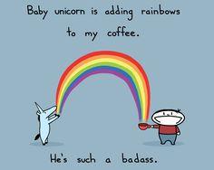Baby Unicorn Rainbow Coffee 8.5x11 Art Print. $15.00, via Etsy.