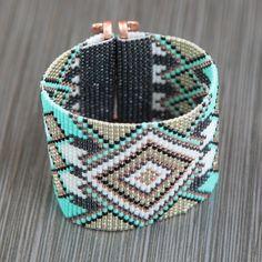 Wide Catalina Copper Arrows Bead Loom Cuff Bracelet Native American Style Beaded Jewelry Boho Tribal Beadweaving Southwestern Black Copper