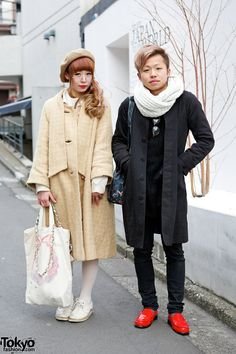 We met Urara & Arai in #Harajuku. Urara is wearing a coat from the Tokyo vintage shop The Virgin Mary with round glasses, a beret, and a cute hair bow. Arai is wearing a jacket from Kinji Harajuku over a resale sweater and patent loafers. #tokyofashion   #street snap