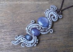 Blue Star Sapphire Necklace Mystic Clay by EnchantedEvolution11