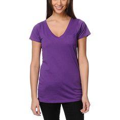Zine Deep Purple V-Neck Tee Shirt Her Packing List, Tee Shirts, Tees, Cute Shorts, Deep Purple, Zine, V Neck T Shirt, Short Sleeves, Slim