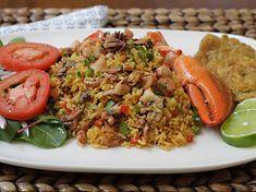 Arroz con Mariscos - AntojandoAndo Colombian Food, Spanish Food, Rice Dishes, Salmon Recipes, Fried Rice, Seafood, Dinner, Ethnic Recipes, Corpus Christi