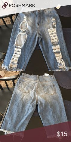 Destructed long shorts brand new with tags Size 2x some stretch. Shorts Jean Shorts