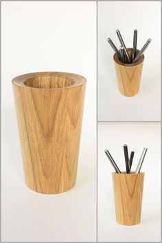 Space saving hand turned pen and pencils desk cup. Can be used as a cutlery stand, scissors and brush holder or a flower vase. Has a durable and long lasting finish and excellent touch feeling. The and is of solid oak Pencil Cup Holder, Pen Turning, Flower Holder, Pens And Pencils, Woodturning, Desk Organization, Solid Oak, Flower Vases, Cutlery