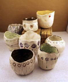 Stamped Pinch Pots