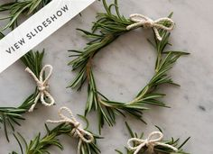 DIY Rosemary Wreaths: Needed: Sprig of Rosemary Twine Uses: Napkin Ring Place Card Holders Table Garland Christmas Decorations To Make, Christmas Wreaths, Christmas Crafts, Napkin Rings Diy Christmas, Diy Napkin Rings Thanksgiving, Christmas Ideas, Diy Thanksgiving Crafts, Holiday Crafts, Thanksgiving Table
