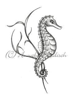 I want the seahorse near the psalm. - I want the seahorse near the psalm. Seahorse Drawing, Seahorse Tattoo, Seahorse Art, Sea Tattoo, Ocean Tattoos, Body Art Tattoos, Sleeve Tattoos, Seahorses, Tatoos