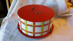 Mid Century Decoware Red and Yellow Plaid Cake by EastIdahoCompany