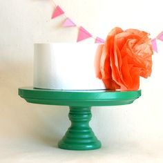 Green Cake Stand. Small/Short Size. $17.00, via Etsy.