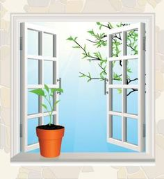 """""""Flowerpot on window sil. Yang Energy, Feng Shui Tips, Star Chart, Clean House, Spring Time, Abundance, Cleaning Hacks, Flower Pots, Vector Free"""