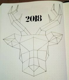Bullet journal yearly cover page, geometric animal drawing, geometric drawing. @mateadrus