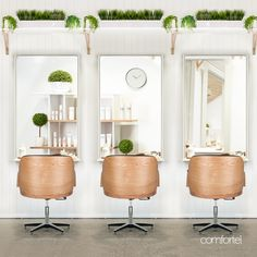 Scandi inspired salon furniture for hair salons. Ash timber look salon furniture with tan coloured salon chairs. Find out more with Comfortel now.