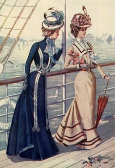 Victorian fashion plate illustration - what about a slightly nautical look?