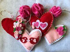 Felt heart garland Valentines Day READY TO SHIP mantle decor
