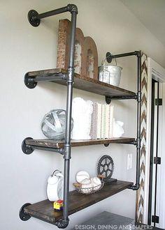 DIY Rustic Industrial Plumbing Pipe Bookshelf