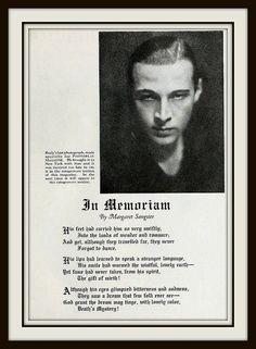 Rudolph Valentino's Last Photograph and In Memoriam - Photoplay Oct 1926