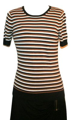Trina Turk Black,Brown and Off-White Stripe Cotton Blend Short Sleeve Top Sz S #TrinaTurk #KnitTop