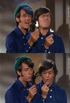 The Monkees: Mike Nesmith and Micky Dolenz. Its a FIRE! in this scene Micky's match won't go out and he starts nervously laughing and looking at the camera. I love how they kept little things like that in the series!