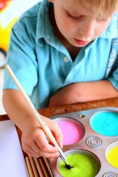 Eruptions with Homemade Flour Paint         The other day I shared the rainbow flour paint recipe  I created, and today I'm excited to sh...