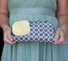 Clutch Purse and Flower Brooch, Yellow and Grey