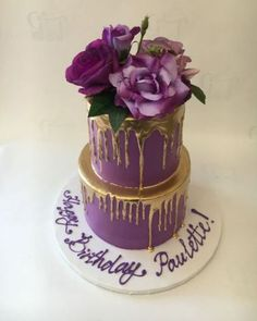 Pin by Tracie Rowland On Girly Cakes 50th Birthday Cake For Women, 70th Birthday Cake, Cool Birthday Cakes, Purple Birthday, Birthday Crafts, Birthday Nails, Husband Birthday, Birthday Ideas, Happy Birthday