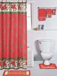 Country Shower Curtain Sets | Double Swag Bathroom Shower Curtain ...