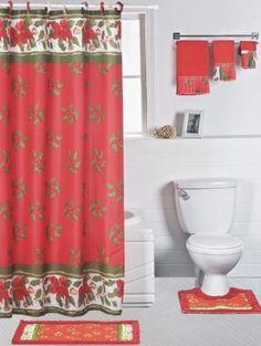 Dainty Home 18Piece Christmas Mistletoe Bathroom Shower Set ** Click Image  For More Details.