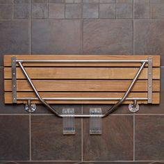 Interesting Teak Shower Bench With Stylish Design For Bathroom Furniture Ideas: Folding Teak Shower Bench On Brown Tile Wall For Bathroom Decor Ideas