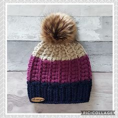 The Harris beanie comprised of the v puff stitch and front post treble crochets. Its a contemporary design with many colour options and looks available.