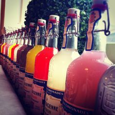 French lemonade bottles lined up on windowsill in Maison Blanc, Burford aka my favourite Cotswoldian coffee hangout