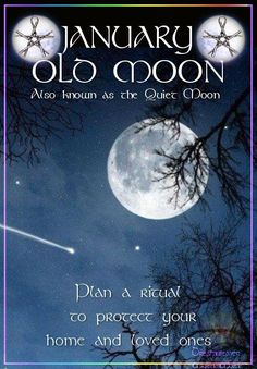 Moon:  JANUARY ~ OLD #MOON: Also known as the Quiet Moon. Plan a ritual to protect your home and loved ones.