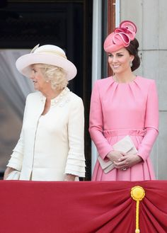 Duchess of Cornwall, Prince Charles' wife, and Duchess of Cambridge, Prince William's wife, attend Trooping of the Colors on June 17 2017.