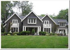 Home exteriors - House exterior white trim grey exterior Grey Siding, Grey Exterior, Exterior Design, Colonial Exterior, Shingle Siding, Exterior Shutters, Vinyl Siding, Exterior Paint Colors For House, Paint Colors For Home