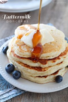 The BEST Buttermilk Pancake recipe! These pancakes are so light, fluffy, and tender!