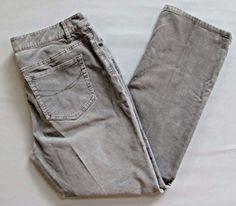 J. Jill Corduroy Pants 8P 8 Petite Boyfriend Straight Light Gray Stretch Cord  #JJill #Corduroys