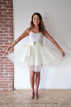 Cream Tulle Skirt with Bow by TeakaMarie on Etsy