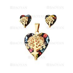 juego dije y aretes de corazon briilo especial con arbol dorado en acero inoxidable -SSSTG053836