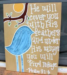 Psalm 914 Bird Canvas by AudrieKateDesigns on Etsy, $25.00