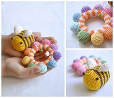 Rattle Teething toy Baby rattle Baby toy Rainbow toy Gift for