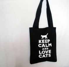 Black Tote bag with Cat Print - Keep calm Bag - Back To School Tote Bag - Fashion - Reusable Tote Bag - Gift nO Tote Bags For School, Cat Bag, Black Linen, Black Tote Bag, Black Canvas, Cat Gifts, Beautiful Cats, Canvas Tote Bags, Cat Lovers